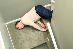 Photo of a man who fell down a set of stairs